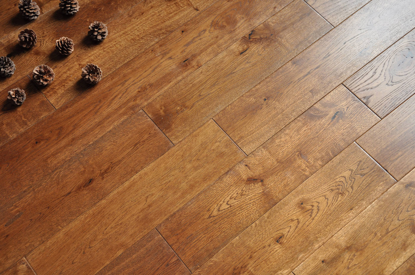 Brushed smoked coffee 18x125mm real natural solid wood for Solid oak wood flooring